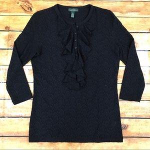 LRL Ralph Lauren Black Lace Blouse with Ruffles